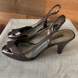 Shiny brown Open Toe Connie Heels